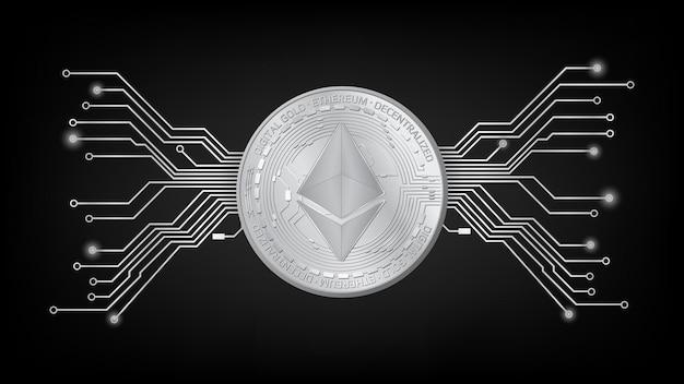 Szczegółowy żeton ethereum eth ze złotą monetą ze ścieżką pcb w kolorze czarno-białym na ciemnym tle. cyfrowe złoto w stylu techno na stronę internetową lub baner. ilustracja wektorowa.