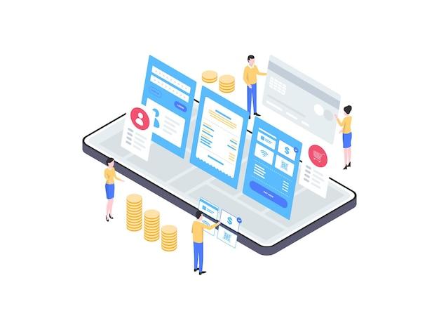 Szczegóły izometryczny ilustracja płatności mobilnych. nadaje się do aplikacji mobilnych, stron internetowych, banerów, diagramów, infografik i innych zasobów graficznych.
