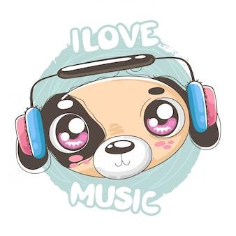 Szczeniak słucha muzyczną ilustrację dla koszula