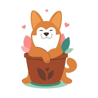 Szczeniak to husky z domowymi kwiatami na rośliny doniczkowe eko narodowy dzień zwierzaka zakochany pies