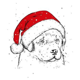 Szczeniak w świątecznej czapce. pies świętego mikołaja. nowy rok i boże narodzenie, ferie zimowe. ilustracja wektorowa na pocztówkę lub drukowanie na ubraniach.