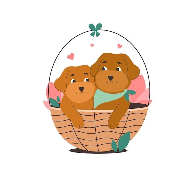 Szczeniak w wiklinowym koszu małe psy na wiosenny projekt kartki z podziękowaniami naklejka na dzień zwierzaka
