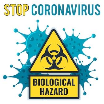 Szczep wirusa 2019-ncov ze znakiem zagrożenia biologicznego. kwarantanna z koronawirusa z wuhan. wybuch pandemii koronawirusa w chinach. ilustracja wektorowa na białym tle