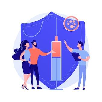 Szczepienia ilustracji wektorowych abstrakcyjna koncepcja dorosłych. szczepienie przeciw grypie dorosłych, harmonogram szczepień dorosłych, lista chorób, którym można zapobiegać przez szczepienia, metafora ogólnej praktyki medycznej.