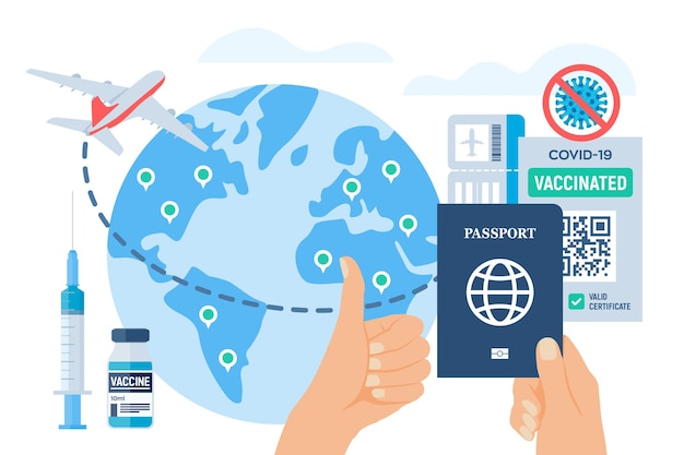 Szczepienia ochronne paszport zdrowia i dowód szczepień w rękach. ręka pokazuje kciuk w górę. certyfikat szczepienia na koronawirusa covid-19 dla podróży międzynarodowych. ilustracja wektorowa.