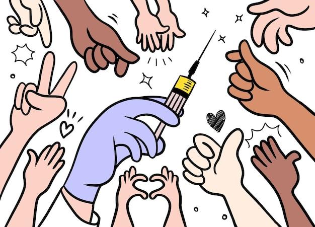 Szczepienia pacjentów. ręce ludzi sięgające po fiolkę ze szczepionką. styl doodle