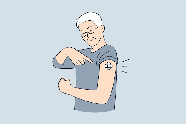 Szczepienia, pomoc medyczna i koncepcja zdrowia. starszy uśmiechnięty mężczyzna stojący pokazujący zaszczepione ramię z ilustracją wektorową wykonaną szczepienia
