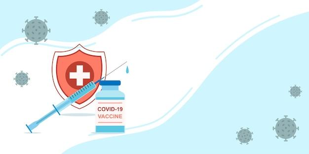 Szczepienia przeciwko koronawirusowi transparent wektor. strzykawka z butelką na szczepionkę przed tarczą. zastrzyk ochrony covid-19. pojęcie medyczne z miejscem na tekst.