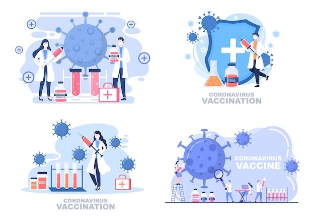 Szczepienie koronawirusem za pomocą narzędzia do wstrzykiwania strzykawki i lekarstwa, pomóż zapewnić szczepionki covid 19 do samoobrony lub utrzymania zdrowia. ilustracja wektorowa