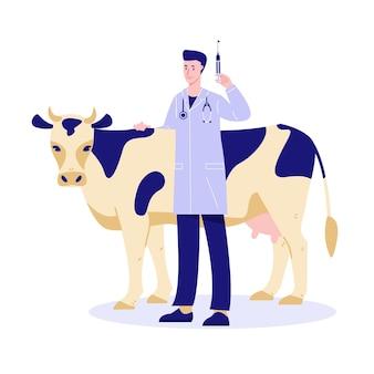 Szczepienie zwierząt gospodarskich weterynarz ze strzykawką obok krowy