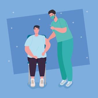 Szczepionka koronawirusa covid19, lekarz szczepi ilustrację pacjenta