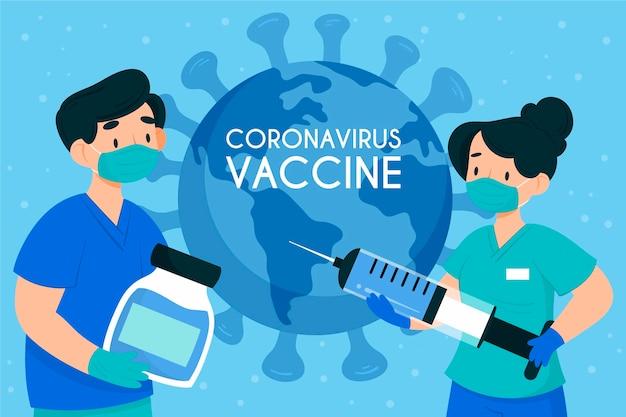 Szczepionka koronawirusa z płaskim ręcznie rysowane tła