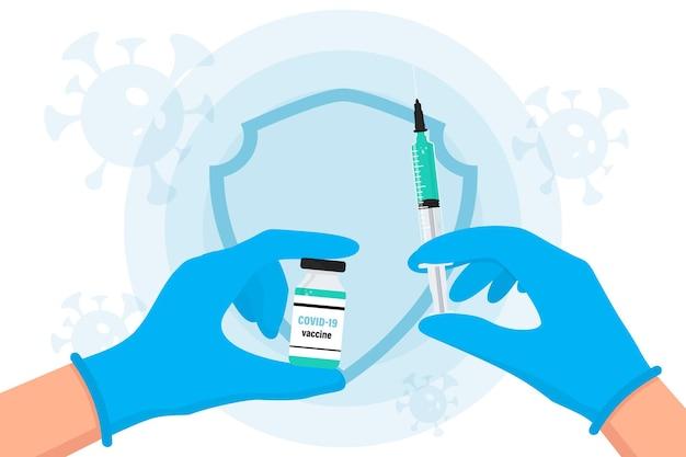 Szczepionka koronawirusowa covid19 ręce w rękawiczkach lekarza trzymają ampułko-strzykawkę