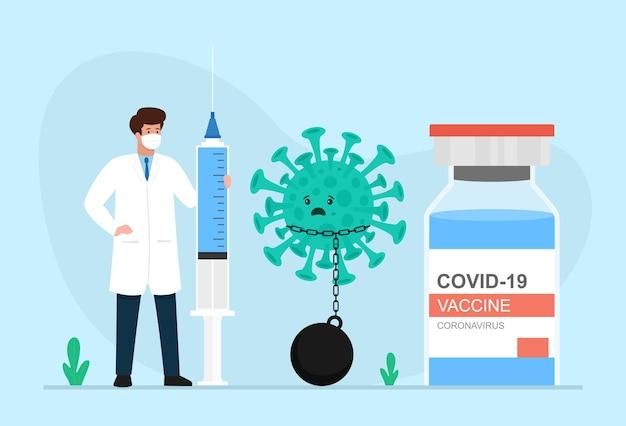 Szczepionka na koronawirusa postać lekarza z ogromnymi strzykawkami do wstrzykiwania i butelka szczepionki covid19