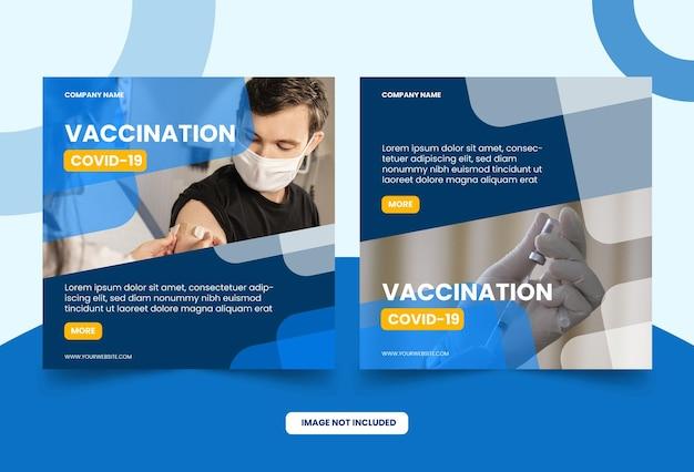 Szczepionka na koronawirusowy szablon postu w mediach społecznościowych