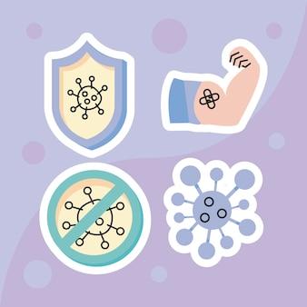 Szczepionka przeciw covid cztery ikony