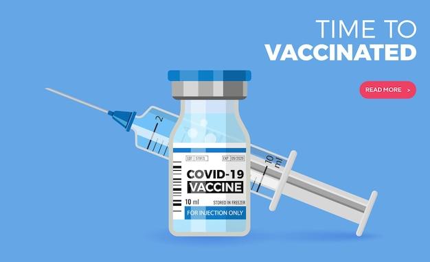 Szczepionka przeciwko koronawirusowi covid-19. płaskie ikony fiolki strzykawki i szczepionki. leczenie koronawirusa covid-19. czas na szczepienie. ilustracja wektorowa na białym tle