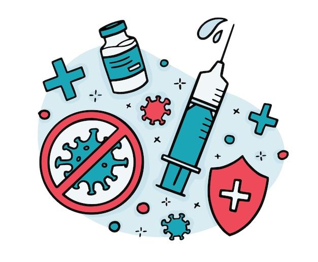 Szczepionka wirusowa, strzykawka do wstrzykiwań w stylu bazgroły