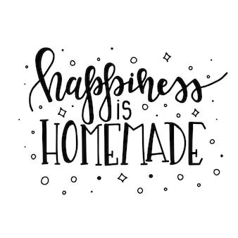 Szczęście jest domowej roboty ręcznie rysowane typografia