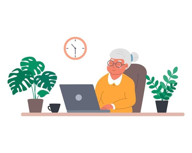 Szczęśliwa babcia z laptopem komunikuje się z rodziną ogląda filmy ilustrowane w płaskim stylu