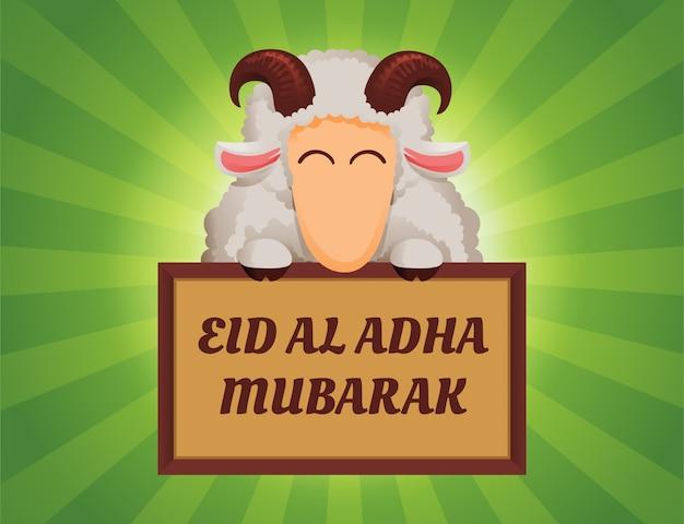 Szczęśliwa barania mienie teksta deska dla eid al adha świętowania ilustraci pojęcia