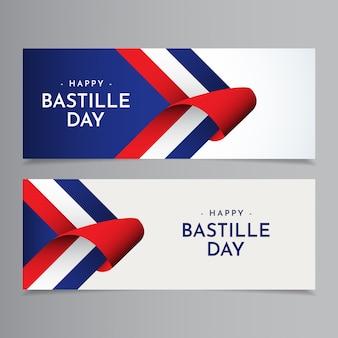 Szczęśliwa bastille day celebration szablonu projektu ilustracja