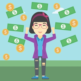 Szczęśliwa biznesowa kobieta pod pieniądze deszczem
