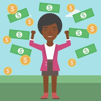 Szczęśliwa biznesowa kobieta pod pieniądze deszczem.
