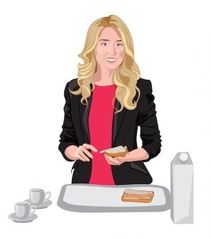 Szczęśliwa blondynka ubrana w czarną kurtkę i różową bluzkę rozsmarowuje masło na chlebie. kubki, mleko i chleb na białym stole