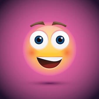 Szczęśliwa buźka emoji na fioletowym tle.