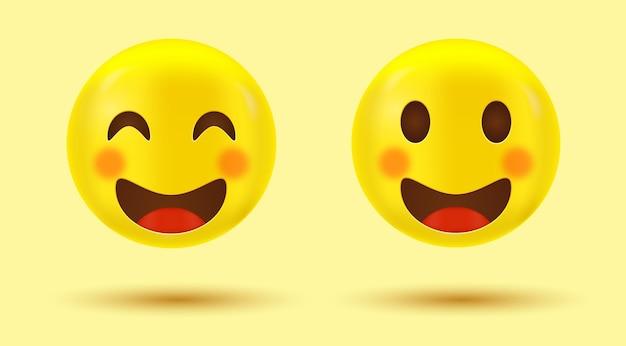 Szczęśliwa buźka ładny emoji lub uśmiechnięty emotikon z uśmiechniętymi oczami