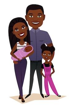 Szczęśliwa czarna rodzinna para z dziećmi