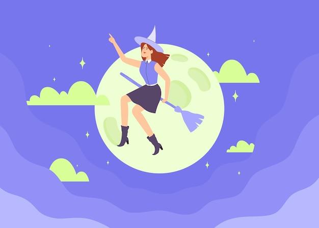 Szczęśliwa czarownica w kapeluszu leci na miotle nad niebieskim ciemnym nocnym niebem. ilustracja wektorowa płaski charakter halloween.