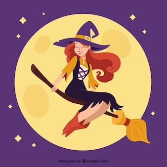Szczęśliwa czarownica z nowoczesnym stylem