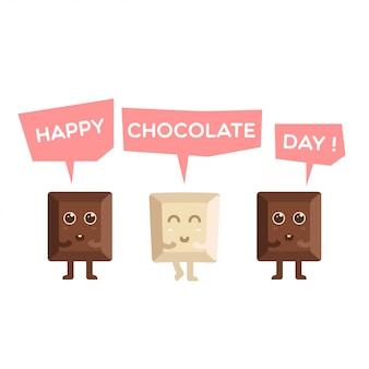 Szczęśliwa czekolada dnia śliczna kreskówka