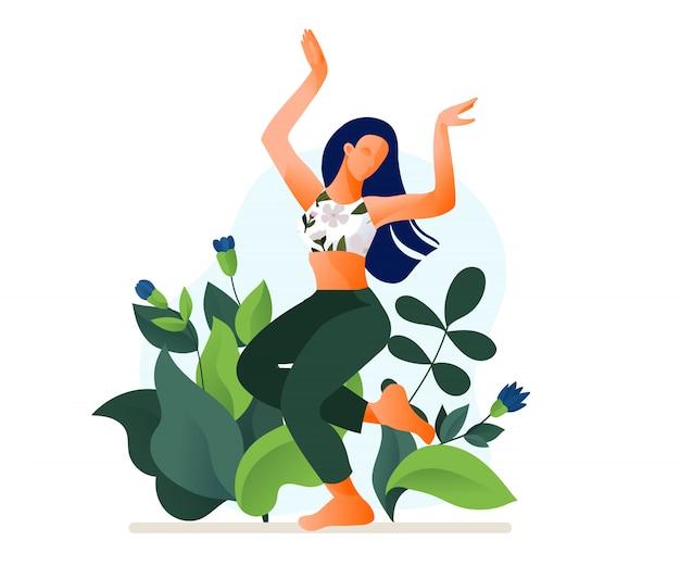 Szczęśliwa dancingowa dziewczyna lub kobieta tanczy plenerową ilustrację. poranny taniec aerobowy taniec fitness.
