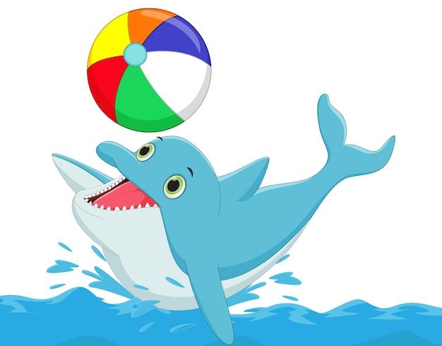 Szczęśliwa delfin kreskówka bawić się piłkę