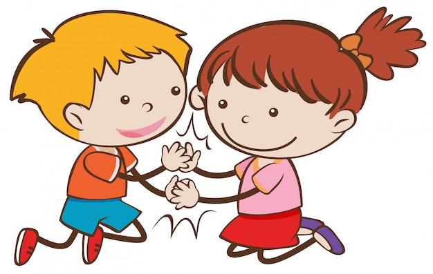 Szczęśliwa doodle chłopiec i dziewczyna bawić się pasztecika tort