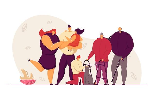 Szczęśliwa duża rodzina i ilustracja koncepcja miłości