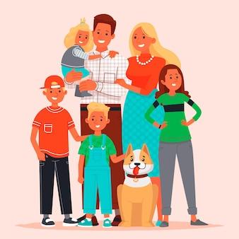 Szczęśliwa duża rodzina. mama, tata, dzieci i zwierzak.
