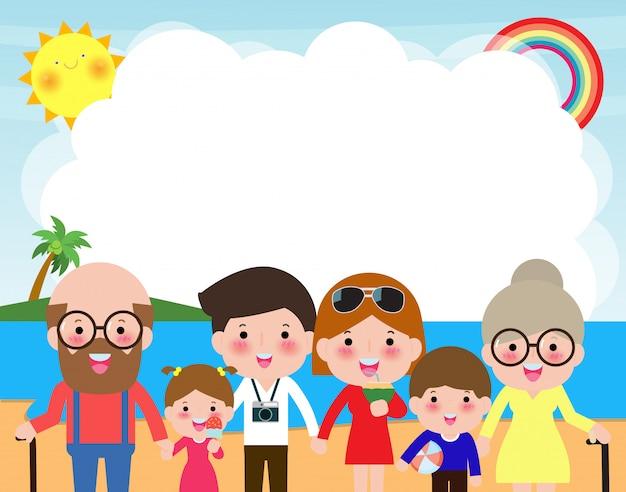Szczęśliwa duża rodzina na plaży. rodzina na wakacjach, chodzenie na plażę i morze. rodziców i dzieci postać z kreskówki odizolowywali ilustrację na lecie.