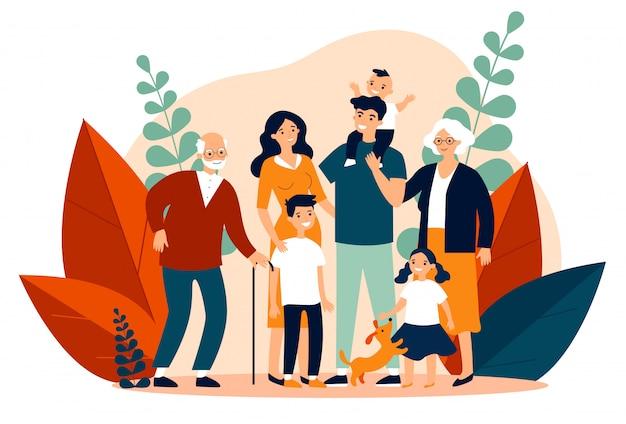 Szczęśliwa duża rodzina stoi wpólnie płaską wektorową ilustrację