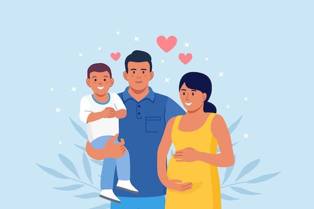 Szczęśliwa duża rodzina stojąc razem. mama w ciąży, tata i dziecko. uśmiechnięci krewni zbierają się w grupie