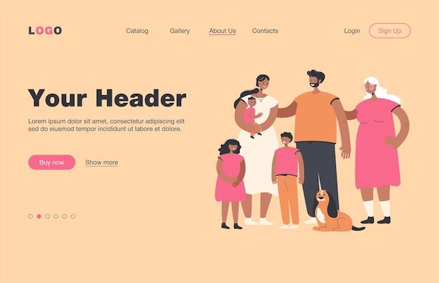 Szczęśliwa duża rodzina stojąca razem i uśmiechnięta płaska strona docelowa .. kreskówka ojciec, matka, babcia, dziadek, dzieci i pies. koncepcja miłości i portret rodziny