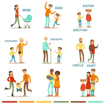 Szczęśliwa duża rodzina z wszystkimi zebranymi krewnymi, w tym ilustracjami matek, ojców, ciotek, wujków i dziadków