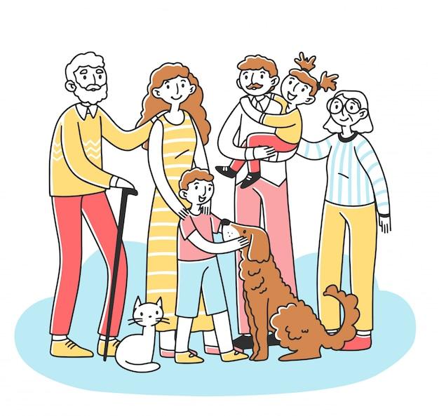 Szczęśliwa duża rodzina ze zwierzętami stojącymi razem