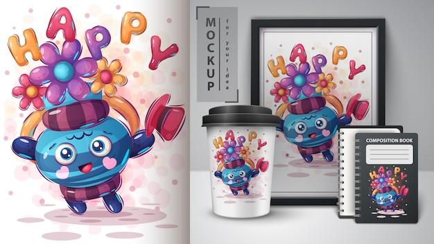 Szczęśliwa dzbanek ilustracja i merchandising