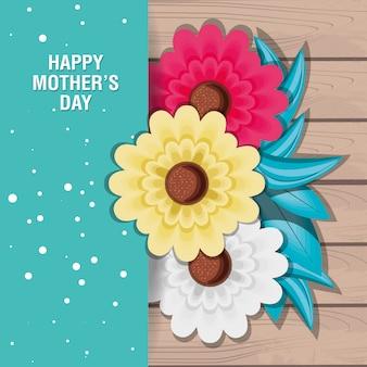 Szczęśliwa dzień matki karta z kwiatami