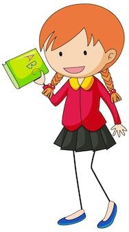 Szczęśliwa dziewczyna doodle kreskówka na białym tle
