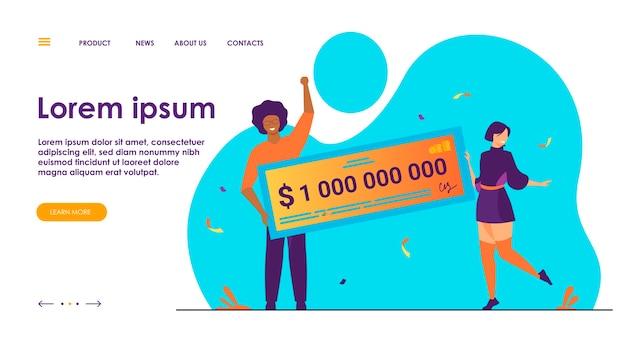 Szczęśliwa dziewczyna i chłopak wygrywający miliard gotówki, odbierający nagrody pieniężne, trzymający czek bankowy. płaskie ilustracji wektorowych na dotację, zwycięzca loterii, koncepcja jackpota
